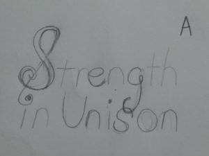 Strength in Unison Lettering Sketch